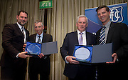 Dundee FC directors John Nelms and Tim Keyes with Pat Liney and Gordon Wallace as they acceptt awards on behalf of Jimmy Toner and Sailor Hunter who were inducted intot the Dundee Fc Hall of Fame 2016 at the Invercarse Hotel<br /> <br />  - &copy; David Young - www.davidyoungphoto.co.uk - email: davidyoungphoto@gmail.com