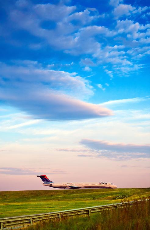 MD-88 Delta airliner awaiting departure at Atlanta's Hartsfield Jackson International Airport.  October, 2008.