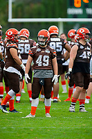 KELOWNA, BC - SEPTEMBER 8:  Dawson Puk #49 of Okanagan Sun stands on the field during warm up against the Langley Rams at the Apple Bowl on September 8, 2019 in Kelowna, Canada. (Photo by Marissa Baecker/Shoot the Breeze)