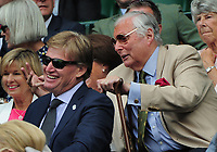Tennis - 2017 Wimbledon Championships - Week Two, Monday [Day Seven]<br /> <br /> Women's Singles, Fourth Round<br /> <br /> Magdaena Rybarikova (SVK) vs. Petra Martic (CRO)<br /> <br /> Golfing Commentator Peter Alliss jokes with Fellow golfer Ernie Els in the Royal Box on Centre Court <br /> <br /> COLORSPORT/ANDREW COWIE