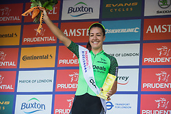 Dani King (GBR) of Waowdeals Pro Cycling Team celebrates winning the intermediate sprints at the Prudential RideLondon Classique - a 64.8 km road race, starting and finishing in central London on July 28, 2018, in London, United Kingdom. (Photo by Balint Hamvas/Velofocus.com)