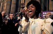 A black woman soul singer, performing at a CND Anti War, Peace Demonstration, London, UK 1970