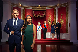 """Madame Tussauds London moves its figures of the Duke and Duchess of Sussex from its Royal Family set to elsewhere in the attraction, in the wake of the announcement that they will take a step back as """"senior members"""" of the royal family, dividing their time between the UK and North America."""