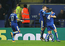 Shinji Okazaki of Leicester City (2nd R) celebrates scoring his sides first goal - Mandatory byline: Jack Phillips/JMP - 14/03/2016 - FOOTBALL - King Power Stadium - Leicester, England - Leicester City v Newcastle United - Barclays Premier League