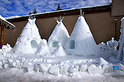 """USA, Idaho, McCall, A Snow Sculpture for the McCall Winter Carnival (""""Native Settlers of Idaho"""")"""