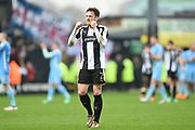 Notts County defender Matt Tootle (2) celebrates after winning 2-1 during the EFL Sky Bet League 2 match between Notts County and Coventry City at Meadow Lane, Nottingham, England on 7 April 2018. Picture by Jon Hobley.