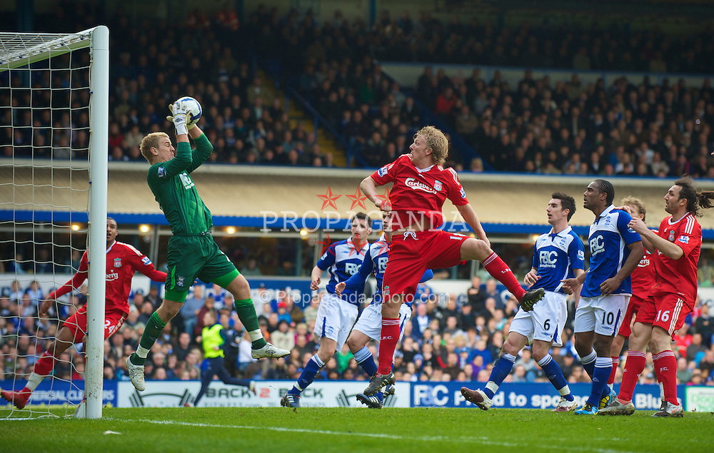 BIRMINGHAM, ENGLAND - Sunday, April 4, 2010: Liverpool's Dirk Kuyt sees his header saved by Birmingham City's goalkeeper Joe Hart during the Premiership match at St Andrews. (Photo by David Rawcliffe/Propaganda)