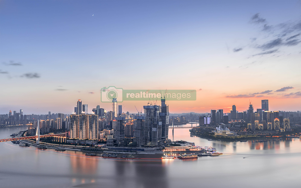 August 28, 2017 - Chongqing, Chongqing, China - Chongqing, CHINA-28th August 2017: (EDITORIAL USE ONLY. CHINA OUT) ..A panoramic view of Chaotianmen Pier in southwest China's Chongqing. (Credit Image: © SIPA Asia via ZUMA Wire)