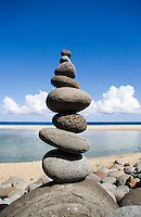 An impressive rock stack on Hanakapai Beach on the Na Pali Coast of Kauai, Hawaii