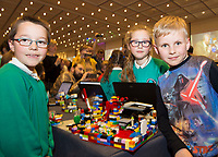 Rhys Caffrey, Angelika Bochenska and Marcel Kaminski from Merlin Woods NS with their  project at the Jnr Lego League organized through schools by the Galway Education Centre at The Radisson blu hotel<br />  Photo: Andrew Downes,  xposure