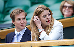 02.07.2014, All England Lawn Tennis Club, London, ENG, WTA Tour, Wimbledon, im Bild Beatrice Windsor (Princess of York) with David Clark during the Ladies' Singles Quarter-Final match on day nine // during the Wimbledon Championships at the All England Lawn Tennis Club in London, Great Britain on 2014/07/02. EXPA Pictures © 2014, PhotoCredit: EXPA/ Propagandaphoto/ David Rawcliffe<br /> <br /> *****ATTENTION - OUT of ENG, GBR*****