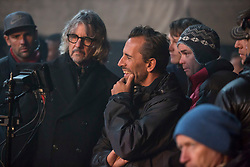 (L-R) Stuntman, 2nd Unit Director George Marshall Ruge, Director Nikolaj Arcel, and Gaffer Oliver Wilter on the set of Columbia Pictures' THE DARK TOWER