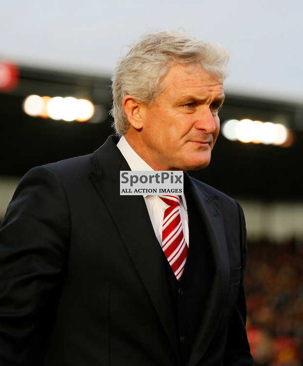 Mark Hughes during Stoke City v Manchester United, Barclays Premier League, Saturday 26th December 2015, Britannia Stadium, Stoke