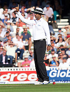 Joe Root of England is given out by Umpire Kumar Dharmasena after the review during the 5th Investec Ashes Test Match match at the Kia Oval, London<br /> Picture by Alan Stanford/Focus Images Ltd +44 7915 056117<br /> 21/08/2015