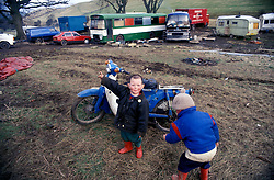 New Age traveller children on temporary site; Skipton North Yorkshire UK