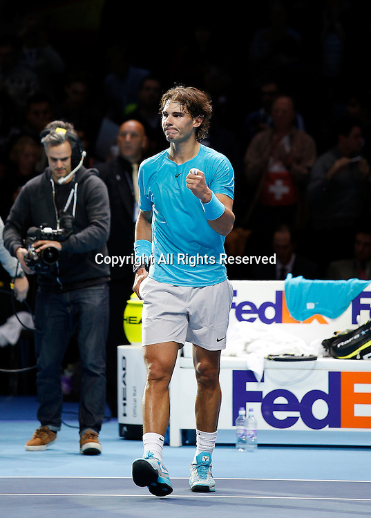 10.11.2013 London, England.  Rafaeal Nadal (ESP)  defeats Roger Federer(SUI) by a score 6-4, 6-3 in semi finals by a score 7-6, 4-6 6-3 during day seven of the Barclays ATP World Tour Finals from the O2 Arena.
