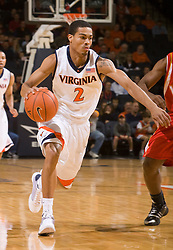 Virginia guard Mustapha Farrakhan (2) in action against VMI.The Virginia Cavaliers defeated the Virginia Military Institute Keydets 107-97 in NCAA Basketball at the John Paul Jones Arena on the Grounds of the University of Virginia in Charlottesville, VA on November 16, 2008.