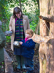 Pictured: Chloe MacPherson (4) was in charge of the open-air cafe<br /> Minister for Early Years and Childcare, Maree Todd today met a kindergarten class taking part outdoor learning at Luariston Castle Edinburgh.<br /> <br /> <br /> Ger Harley | EEm 22 February 2018