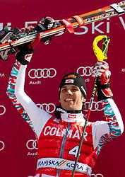 Winner Mario Matt of Austria celebrates during flower ceremony after the Men's Slalom of FIS Ski World Cup Alpine Kranjska Gora, on March 6, 2011 in Vitranc/Podkoren, Kranjska Gora, Slovenia.  (Photo By Vid Ponikvar / Sportida.com)
