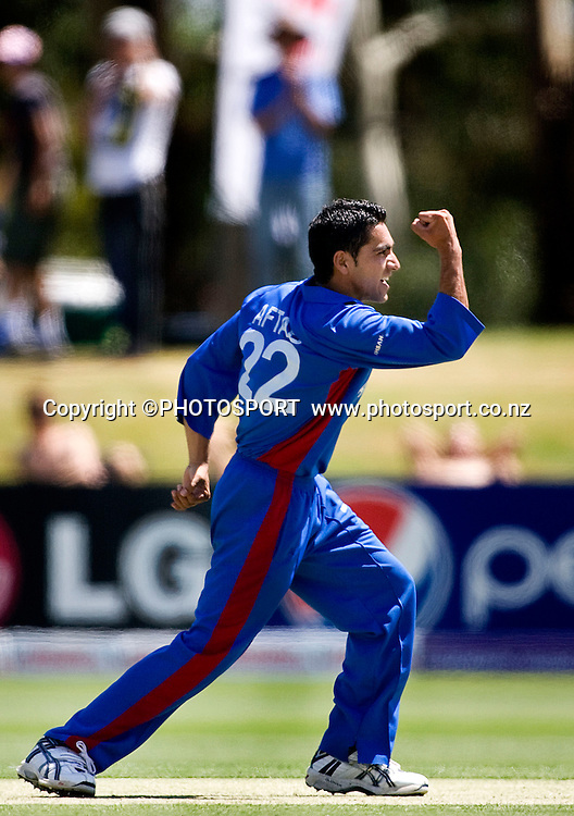 Afghanistan's Aftab Alam celebrates the wicket of Mayank Agarwal of his bowling. India v Afghanistan, U19 Cricket World Cup group stage match, Bert Sutcliffe Oval,  Friday 15 January 2010. Photo : Joseph Johnson/PHOTOSPORT