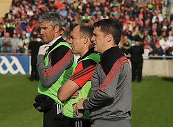 Part of Mayo&rsquo;s backroom team Dr Sean Moffat, Martin McIntyre Physio and selector Sean Carey<br /> Pic Conor McKeown