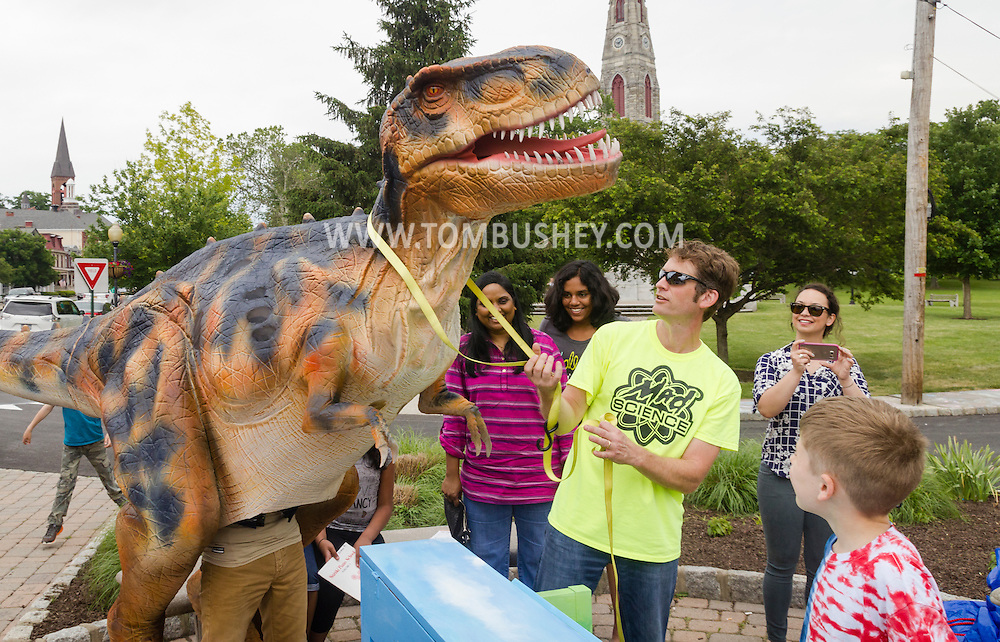 Goshen, New York - A team from Mad Science of the Hudson Valley takes Fluffy, a six-month-old Tyrannosaurus rex for a walk through downtown Goshen on June 11, 2016.