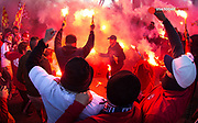 Nov 6, 2016; Harrison, NJ, USA; New York Red Bulls fans close down Jackson street bridge as they party before a game against the Montreal Impact at Red Bull Arena. Mandatory Credit: Bill Streicher-USA TODAY Sports