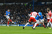 John Marquis (10) of Portsmouth shoots at goal from a free kick which is blocked during the The FA Cup match between Portsmouth and Barnsley at Fratton Park, Portsmouth, England on 25 January 2020.