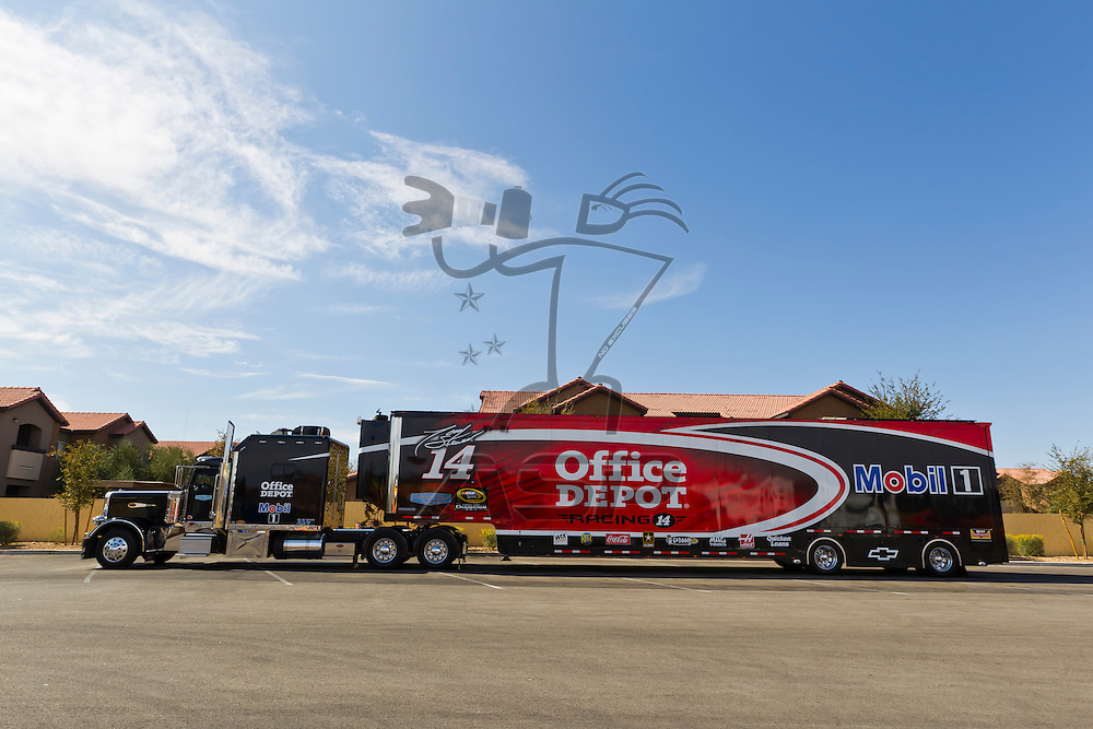 LAS VEGAS, NV - MAR 08, 2012:  The NASCAR Sprint Cup hauler of Tony Stewart (14) waits to enter the Las Vegas Motor Speedway before the running of the Kobalt Tools 400 race in Las Vegas, NV.