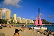 Image of Waikiki Beach and resorts along the coastline, Honolulu, Oahu, Hawaii, America West.