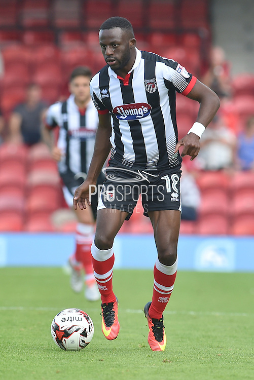 Tom Bolarinwa (18) of Grimsby Town during the EFL Sky Bet League 2 match between Grimsby Town FC and Morecambe at Blundell Park, Grimsby, United Kingdom on 6 August 2016. Photo by Ian Lyall.