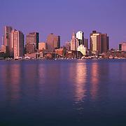 Boston Massachusetts skyline and Boston Harbor sunrise view from East Boston