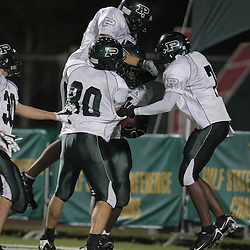 07 November 2008: Ponchatoula Green Wave DL Trey Howard (#91), Ponchatoula Green Wave WR Livingston Hamilton (#7), Ponchatoula Green Wave DB Daltin Cummings (#30), Ponchatoula Green Wave LB Corey Morse (80) The Ponchatoula Green Wave defeated District 7-5A rival the Hammond Tornados 34-13 at Strawberry Stadium in Hammond, LA . The Green Wave with the win clinched a spot in the 2008 playoffs.