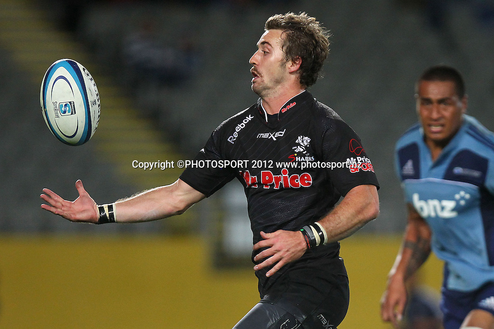 Sharks' Tim Whitehead gathers the ball on his way to score a try. Super Rugby rugby union match, Blues v Sharks at Eden Park, Auckland, New Zealand. Friday 13th April 2012. Photo: Anthony Au-Yeung / photosport.co.nz