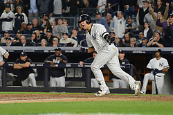 October 18, 2017 - Bronx, NY, USA - The New York Yankees' Gary Sanchez hits an RBI single in the fifth inning against the Houston Astros in Game 5 of the American League Championship Series at Yankee Stadium in New York on Wednesday, Oct. 18, 2017. (Credit Image: © Andrew Savulich/TNS via ZUMA Wire)