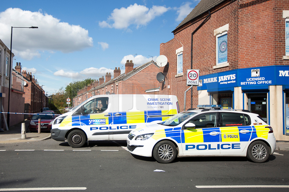 © Licensed to London News Pictures. 19/09/2017. Hexthorpe UK. Picture shows the scene in Hexthorpe where a police officer has been seriously injured in an attack on Sheardown street in Hexthorpe, Doncaster. Two men & a woman have been arrested over the incident, the full extent of the officers injuries is not known yet. South Yorkshire Police said they were called to reports of a vehicle crash at about 07:30 the officer was assaulted when three people fled the area.  Photo credit: Andrew McCaren/LNP