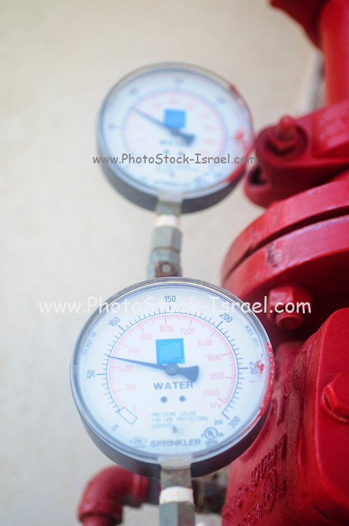 Water pressure gauge on  fire suppression system