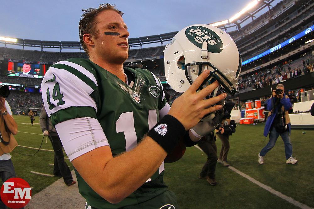 Dec 2, 2012; East Rutherford, NJ, USA; New York Jets quarterback Greg McElroy (14) celebrates the New York Jets 7-6 win over the Arizona Cardinals at MetLIfe Stadium.