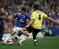Photo: Andi Thompson.<br />Everton v Manchester City. The Barclays Premiership. 30/09/2006.<br />Everton's Mikel Arteta (L) takes on City's Stephen Jordan (R)