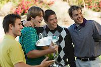 Friends Congratulating Golf Champion