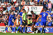The referee shows Leicester City Defender, Wes Morgan (5) a red card during the Premier League match between Bournemouth and Leicester City at the Vitality Stadium, Bournemouth, England on 15 September 2018.