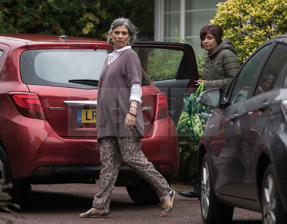 © Licensed to London News Pictures. 10/09/2016. London, UK. Maria Fernandes Vaz (R), wife of disgraced MP Keith Vaz is seen at their north London home today with an un-named guest. Mrs Vaz has given an interview to a Sunday newspaper in which she says that she forgives his betrayal after it was revealed that he had been allegedly been having sex with male prostitutes. Photo credit: Peter Macdiarmid/LNP