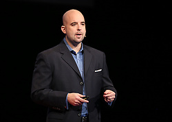 Bradd Busick speaking at TEDx Tacoma on Saturday, March 21, 2015. (Photo: John Froschauer/PLU)