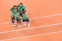 15-01-2013 VOLLEYBAL: CHAMPIONS LEAGUE ACH VOLLEY - CUNEO: LJUBLJANA<br /> Players of Cuneo celebrate with Nimir Abdelaziz during volleyball match between ACH Volley Ljubljana and Bre Banca Lannutti Cuneo (ITA) in Playoff 12 game of CEV Champions League<br /> ***NETHERLANDS ONLY***<br /> &copy;2013-FotoHoogendoorn.nL