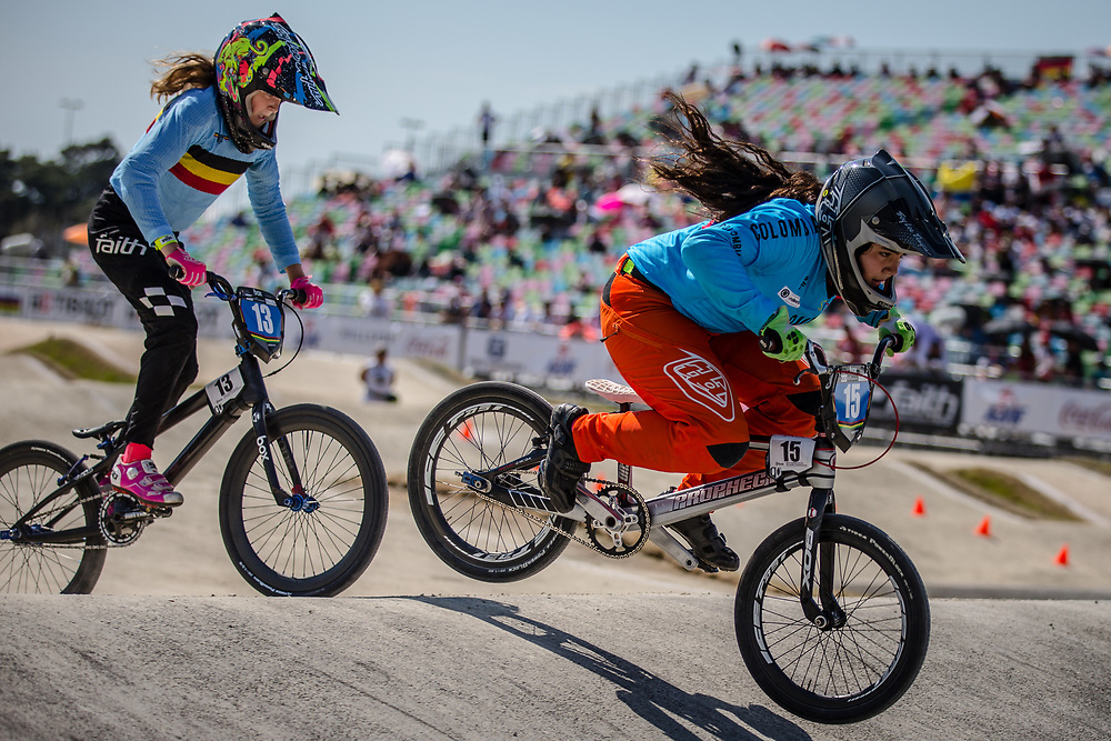13 Girls #15 (ORJUELA PACHECO Maria Clara) COL at the 2018 UCI BMX World Championships in Baku, Azerbaijan.