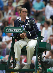 LONDON, ENGLAND - Thursday, June 30, 2011: Umpire Kerrilyn Cramer during the Ladies' Singles Semi-Final match on day ten of the Wimbledon Lawn Tennis Championships at the All England Lawn Tennis and Croquet Club. (Pic by David Rawcliffe/Propaganda)