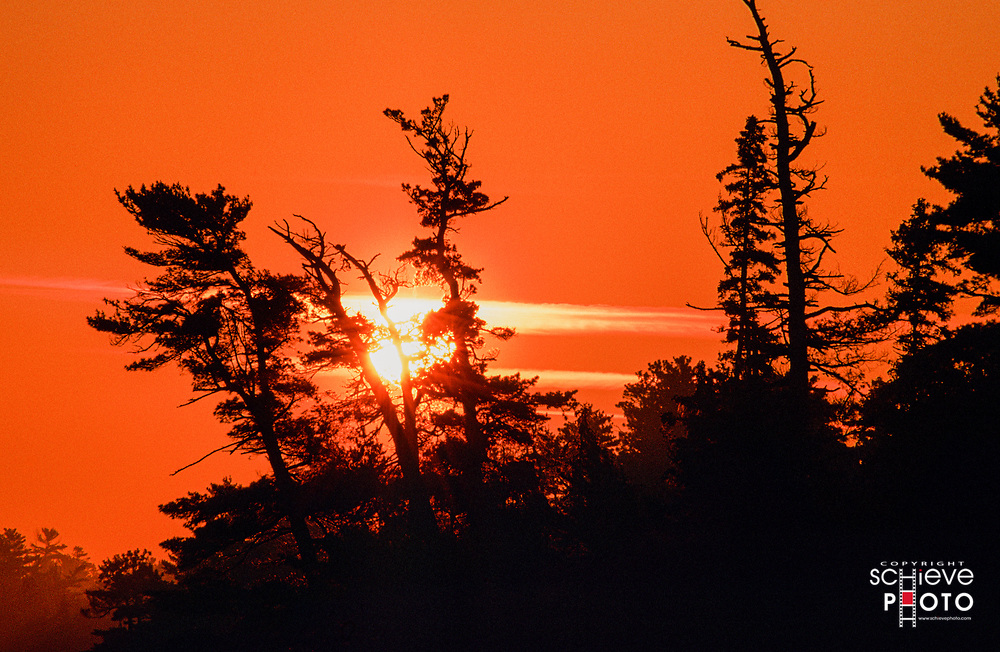 Sunrise in the Quetico Provincial Park, Canada.