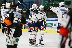06.12.2015, Eisstadion Liebenau, Graz, AUT, EBEL, Moser Medical Graz 99ers vs EC VSV, 28. Runde, im Bild Jubel von Rick Schofield (EC VSV), Ziga Pance (EC VSV) und Miha Verlic (EC VSV) // during the Erste Bank Icehockey League 28th Round match between Moser Medical Graz 99ers and EC VSV at the Ice Stadium Liebenau, Graz, Austria on 2015/12/06, EXPA Pictures © 2015, PhotoCredit: EXPA/ Erwin Scheriau