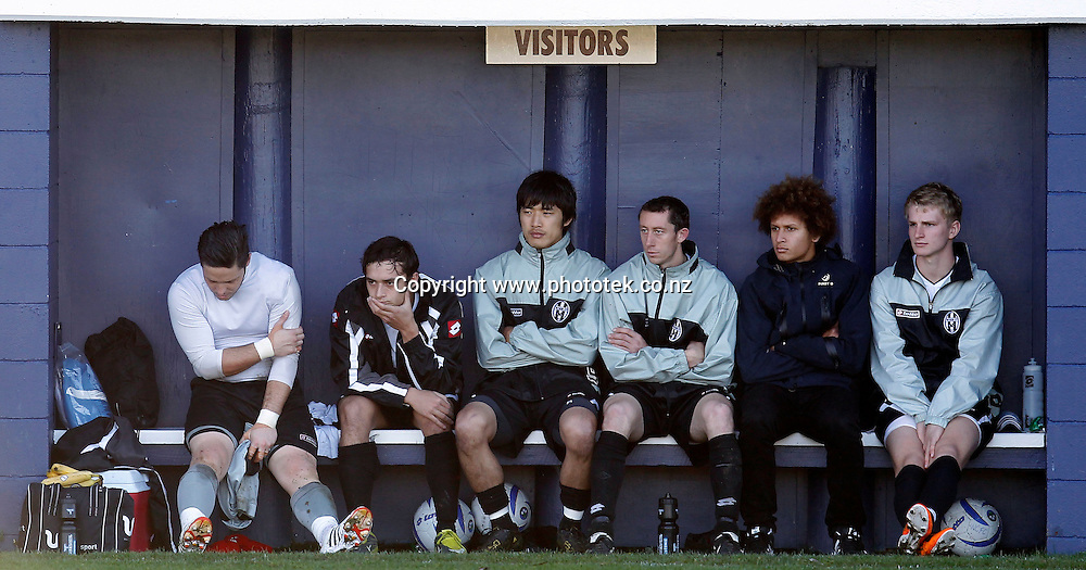 The Waitakere bench know late in the game that they will not be collecting any Chatham Cup medals in 2012. 2012 Chatham Cup, Third Round, Central United v Waitakere City FC, Kiwitea Street Auckland, Sunday 24th June 2012. Photo: Shane Wenzlick