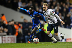 Christian Eriksen of Tottenham Hotspur and Nathan Dyer of Leicester City chase the ball - Mandatory byline: Jason Brown/JMP - 07966386802 - 10/01/2016 - FOOTBALL - White Hart Lane - London, England - Tottenham v Leicester City - The Emirates FA Cup